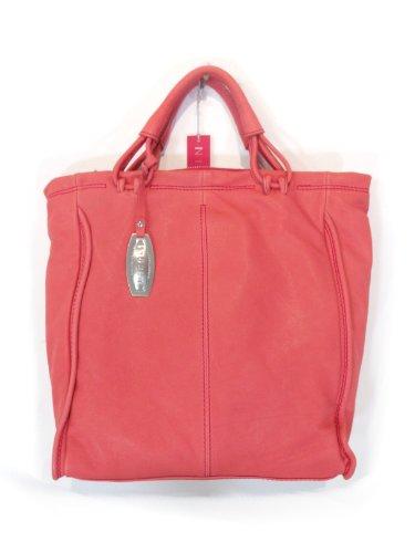 NICOLI Coral Red Designer Italian Leather 2 in 1 Handbag Purse Tote Bag