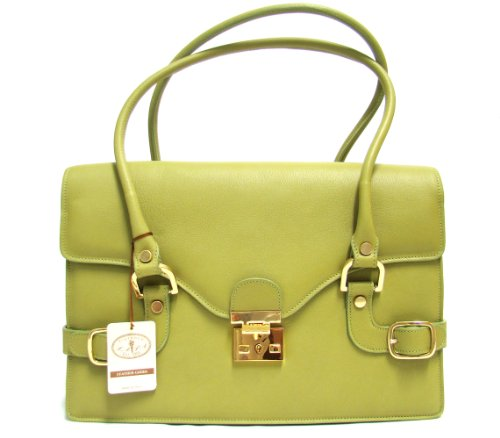 L.A.P.A. Italian Made Green Calfskin Leather Designer Shoulder Bag Briefcase