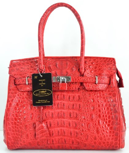100% GENUINE CROCODILE LEATHER HANDBAG CLUTCH BAG PURSE LARGE LOCKED SHINY RED NEW EMS SHIPPING @ Genuineshop