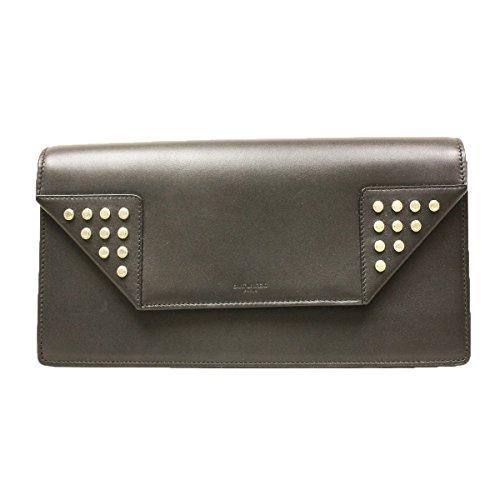 YSL Saint Laurent Betty Studded Black Leather Clutch 315683
