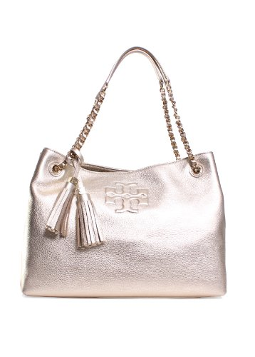Tory Burch Thea Metallic Chain Shoulder Slouchy Tote in Light Gold