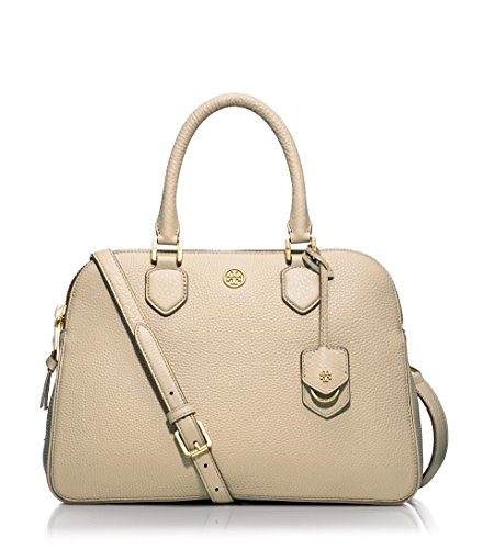 Tory Burch Robinson Pebbled Triple-zip Satchel in Beige