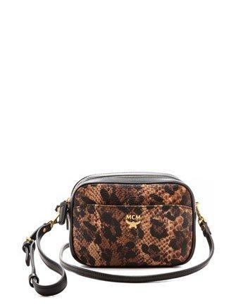 MCM Crossbody Animal Print Mini Bag Black Gold Brown New