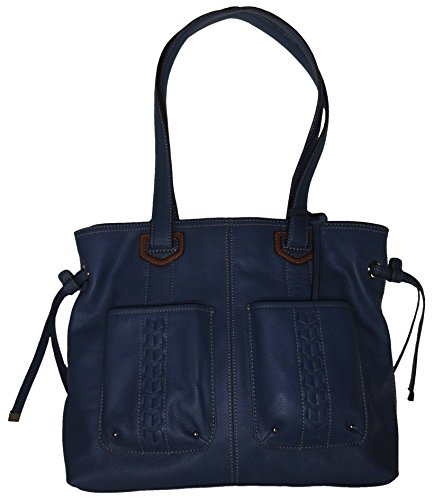 Tignanello Women's Genuine Leather Tote Handbag, Indigo With a Touch of Brown