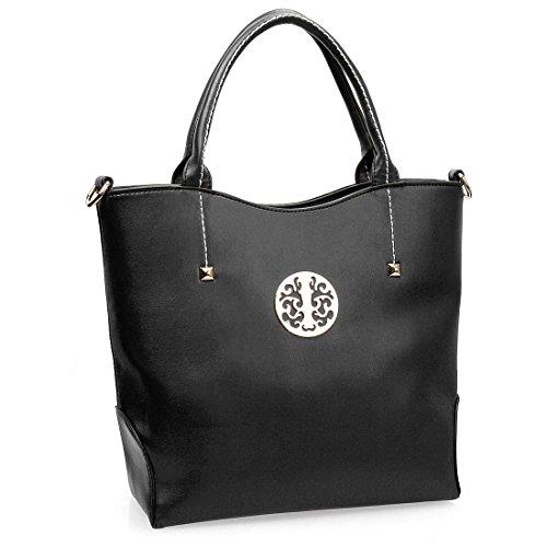 BMC Womens PU Faux Leather Double Top Handle Bucket Satchel Shoulder Handbag