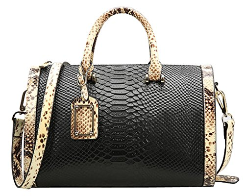 Heshe Genuine Leather New Lady's Casual Fashion Crocodile & Serpentine Top Handle Tote Shoulder Crossbody Bag Satchel Purse Women's Handbag
