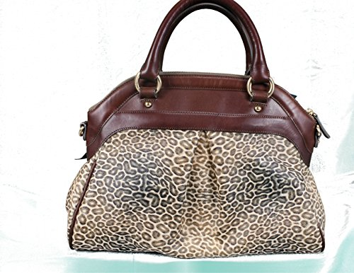 Brahmin Louise Rose Satchel Creme Valencia Mini Animal Print