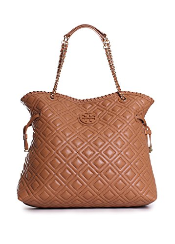 Tory Burch Marion Quilted Slouchy Tote in Tiger's Eye
