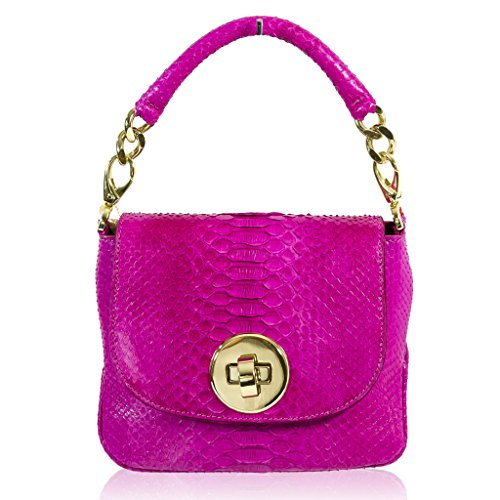 Ghibli Italian Designer Hot Pink Python Leather Purse Mini Messenger Bag