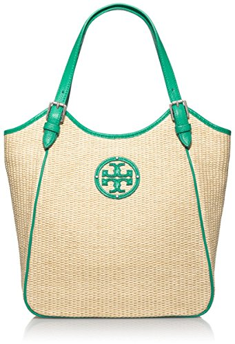 Tory Burch Small Slouchy Straw Tote in Natural and Emerald Green with Gold Tone Hardware