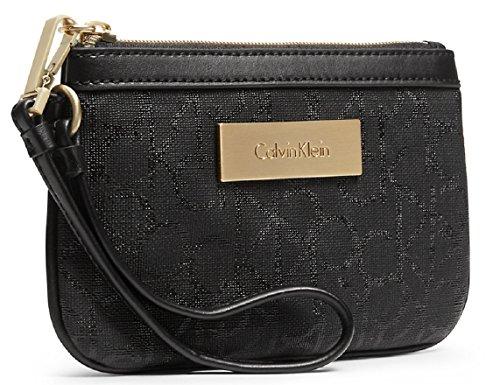 Calvin Klein Jordan Lena Wristlet Clutch Purse Handbag (Black Tint)