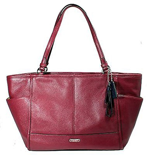 Coach Park Leather Carrie Tote Shoulder Handbag Crimson, Style F29898SVCM