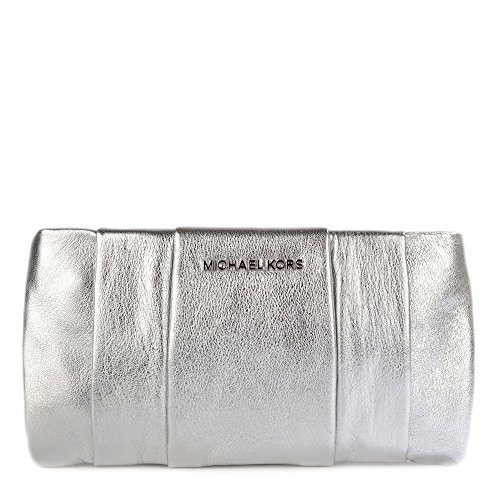 Michael Kors Daria Leather Silver Pleated Clutch Metallic Bag New