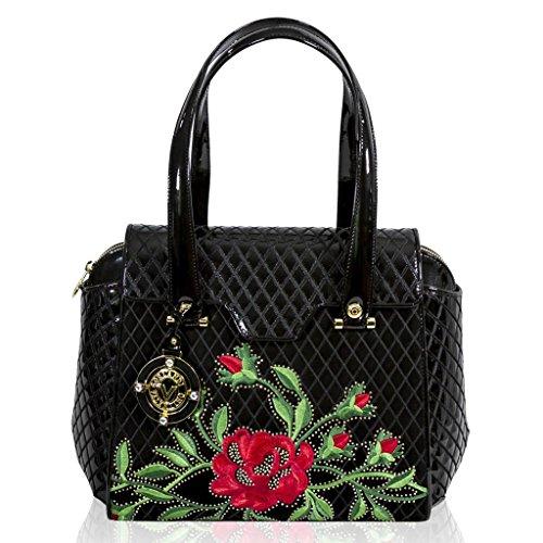 Valentino Orlandi Italain Designer Black Quilted Leather Satchel Bag w/ Roses