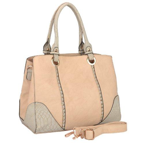 MG Collection PIA Beige Faux Snakeskin Trim Studded Satchel Style Shoulder Bag