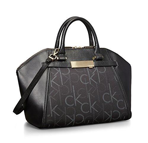 Calvin Klein Addie Dome Satchel Signature Handbag Black
