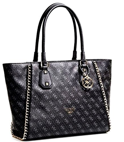 GUESS Confidential Chain Classic Large Shopper Tote (Black / Grey)