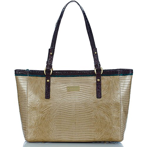 NEW AUTHENTIC BRAHMIN MEDIUM ARNO CARRYALL TOTE (Shimmer Gold Tri-Texture)