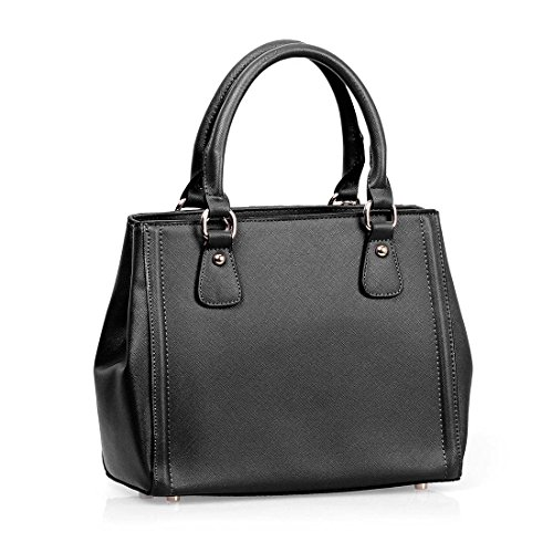 BMC Fashionably Chic Structured Faux Leather Top Handle Lux Tote Style Handbag