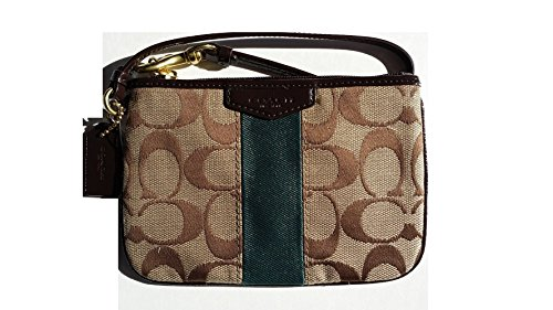 Coach Signature Stripe Small Wristlet 51158 Khaki/Racing Green