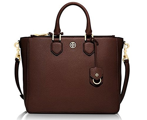 New Without Tag Tory Burch Robinson Pebbled Square Tote Dark Walnut handbag bag purse Retail Price 550