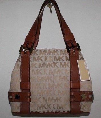 Michael Kors Signature Jacquard Harness Grab Bag Shoulder Handbag