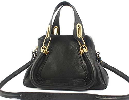Chloe Paraty Small Leather Satchel Handbag – Black
