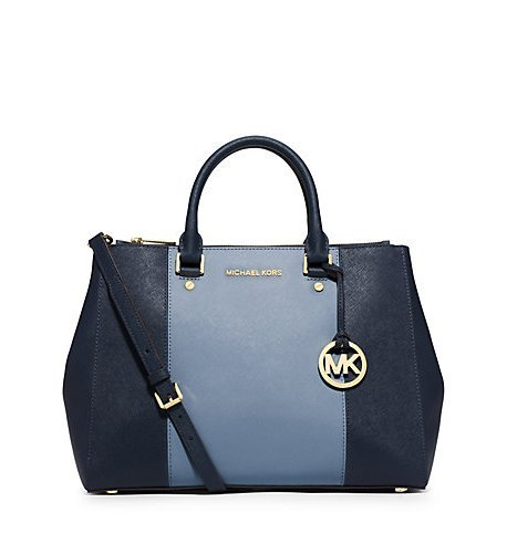 Michael Kors Sutton Center Stripe Large Satchel Navy/blue