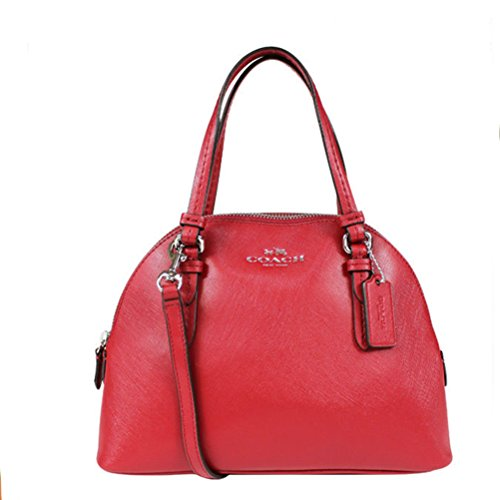 Coach Peyton Signature Mini Domed Crossbody Satchel Red F32582