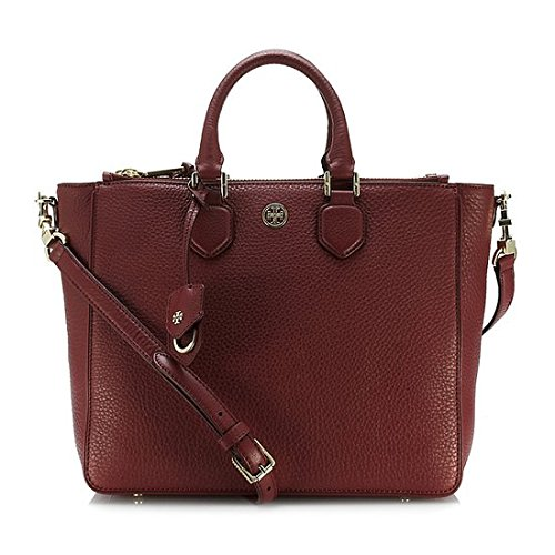 Tory Burch Robinson Pebbled Square Tote Deep Berry