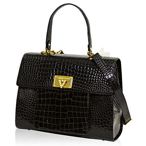 Valentino Orlandi Italian Designer Black Croc Leather Top Handle Crossbody Bag