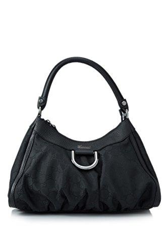 Gucci Medium Black Leather and Nylon Zip Top Handbag Shoulderbag
