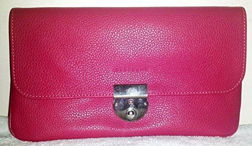 Longchamp Clutch Veau Foulonne Travel Pink Leather Bag New