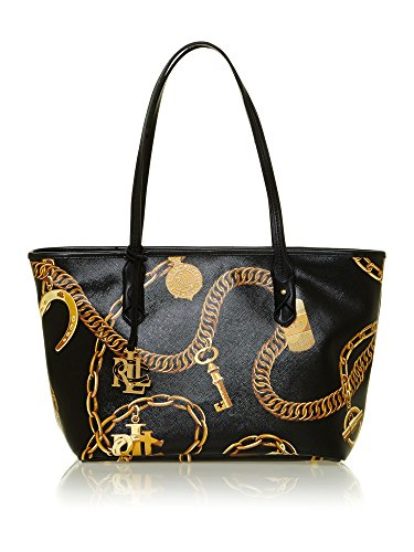 Ralph Lauren Halstead Signature Shopper Tote Black
