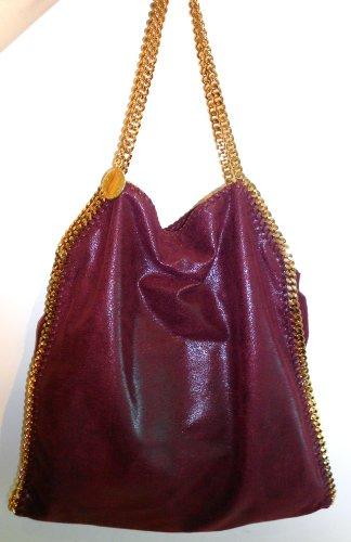 Stella Mccartney Plum Falabella Shoulder Bag Gold Hardware Handbag