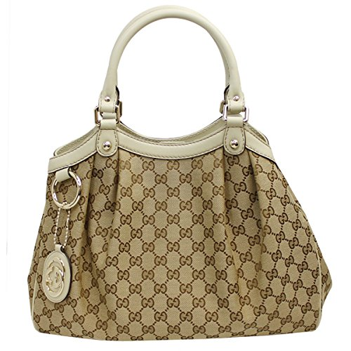 Gucci Women's Women's Sukey Beige/Ivory Csnvas/Leather Hand Bag 211944 FAFXG 9761