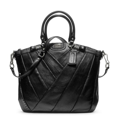 Coach Madison Diagonal Pleated Mixed Exotic Lindsey Satchel Bag Black F21318