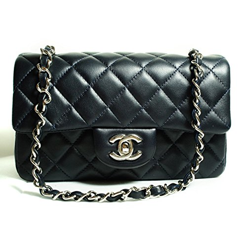 CHANEL Women's Black Quilted Lambskin Classic Mini Flap Bag