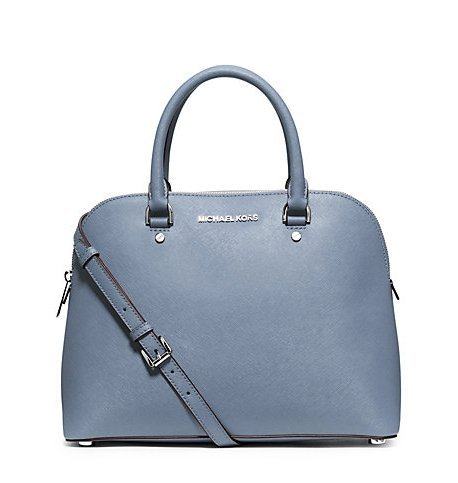 Michael Kors Cindy Large Saffiano Leather Satchel PALE BLUE