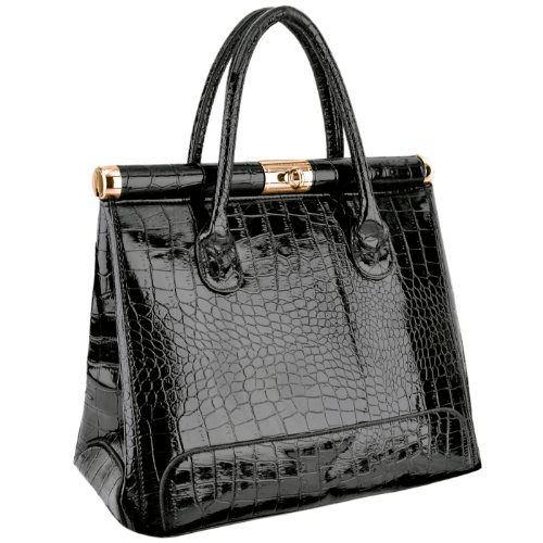 MG Collection JORJA Chic Black High Gloss Crocodile Print Office Tote Handbag