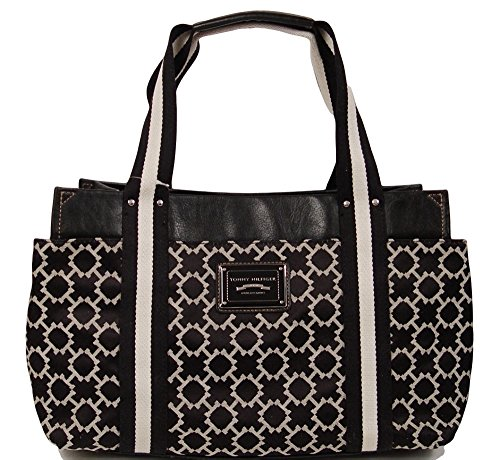 Tommy Hilfiger Large Tote Bag Handbag Purse (Black)