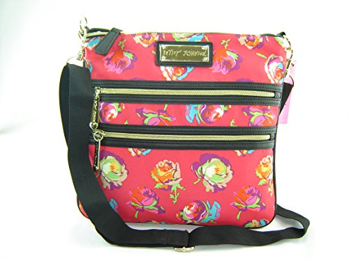 Betsey Johnson 2 Zip Crossbody Handbag Purse Red Fushia Multi