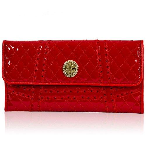 Valentino Orlandi Italian Designer Red Quilted Leather Swarovski Wallet Clutch