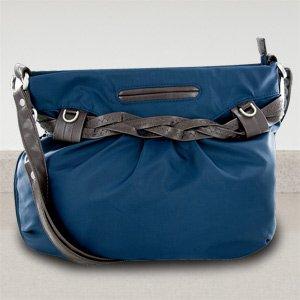 New Travelon Nylon Shoulder Bag with Braided Belt Detail (Navy)