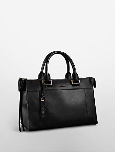 Calvin Klein Jeans Aster Leather Satchel (Black)
