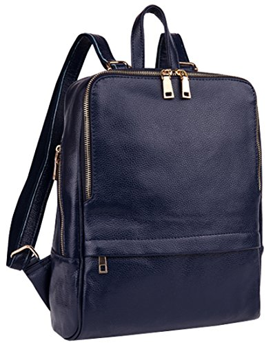 Heshe New Women's Genuine Leather Casual Double Use Top Handle Tote Bag Backpack School Bag Purse Zipper Closure Handbag for Ladies