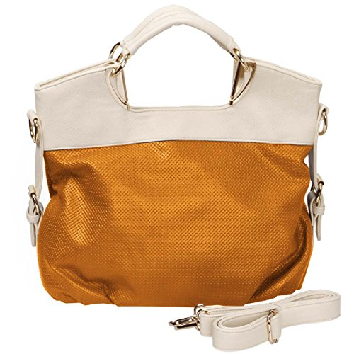 BMC Womens Two Tone Textured PU Faux Leather Tote Fashion Shoulder Handbag