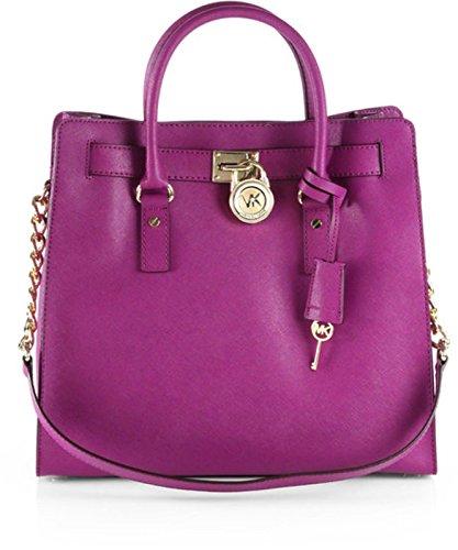 Michael Kors Hamilton NS North South Saffiano Leather Pomegranate Purple Tote