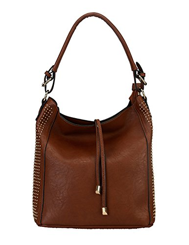 Diophy Side Studded Causal Hobo Handbag