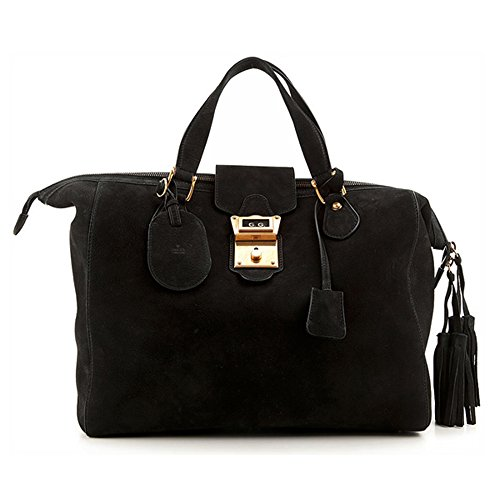 Gucci Black Suede Leather Top Handle Satchel Bag 303891